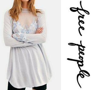 Free people embroidered mesh lace detailed top